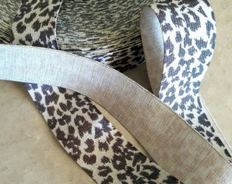 "1 3/4"" width, METALLIC LEOPARD print Elastic, Black beige metallic elastic, decorative garter, exotic print, animal print, belt elastic,"