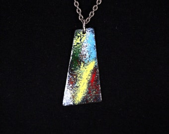 Glazed metal pendant, modernist, abstract, mid-century on chain of precious metal.