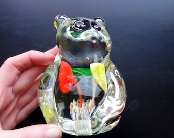 Cute retro art glass panda bear paperweight with striking flower center