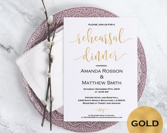 Rehearsal dinner invitation - Gold Wedding Invitatio - Blus Wedding Invitation  - Rehearsal Invitation -  Downloadable wedding #WDH0150