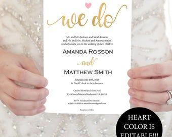 Gold Blush Wedding Invitation - Heart Blush Wedding Invitation Printable - Blush Pink We Do Invitation Downloadable Wedding #WDH87543