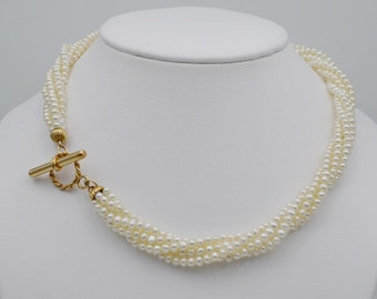Freshwater Pearl Necklace with 14k Gold Toggle Clasp