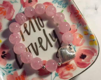 Natural Rose Quartz Crystal Round Beads/Silver Heart /Stretch Bracelet