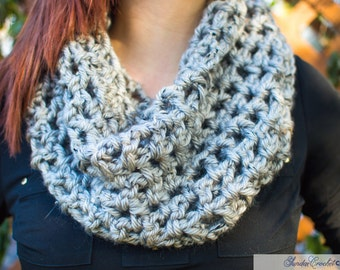 Gray Speckled Crochet Cowl Neck Scarf