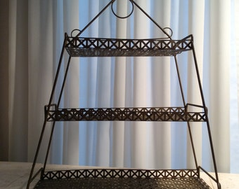 Vintage Mid Century Three-Tiered Wall Mounted Wire Shelf