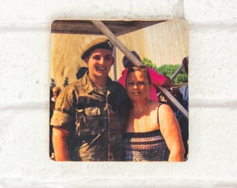 Freestanding, Wooden Photo Block, 4x4'', Personalised Gift, Photo Transfer, Image Transfer, Pictures on Wood, Keepsake, Photo Gifts