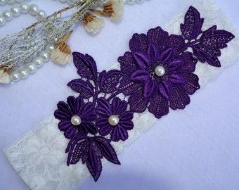 Wedding Garter Ivory Lace Grater, Garter Purple, Wedding Garter Set, Lace Garter Set, Wedding Clothing, Lace Garter Belt, Ivory Wedding Gift