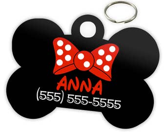 Disney Minnie Mouse Red Custom Personalized Pet ID Tag for Dog