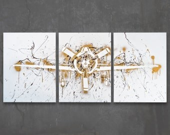 t-28 trojan // custom original painting // modern triptych // airplane art // metallic spray paint + splatter large wall art // silhouette