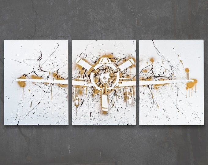 t-28 trojan // custom original painting // modern triptych // airplane art // metallic spray paint + splatter large wall art // silhouette