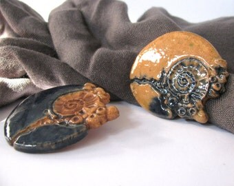 Set of 2 Glazed Ceramic Brooches NAUTILUS - 100% Handmade Brooch - 2 for the price of 1 - Double your elegance or just share with a friend!