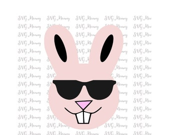 Cool Easter Bunny Wearing Sunglasses, Easter, Easter Bunny, SVG cut file, DXF cut file, Cricut, Silhouette