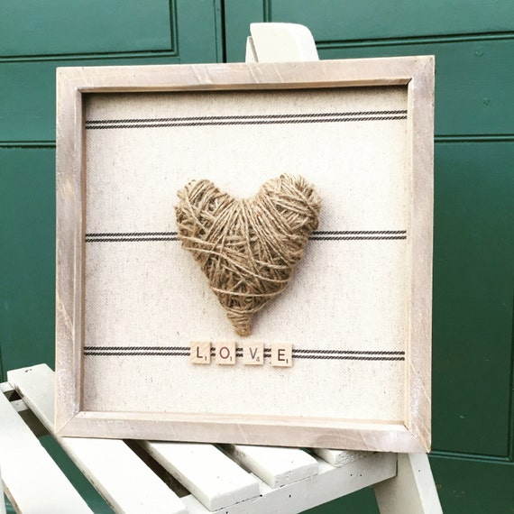 Twine heart love frame,house warming gift