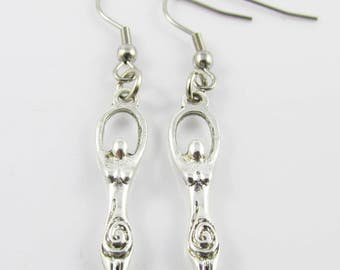 Fertility Goddess Charm Hook Earrings 49mm Stainless Steel Hooks