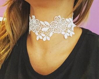 SALE -- Romance white lace Choker