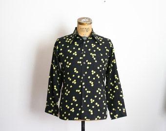 70s Mens Shirt 1970s Novelty Print Disco Shirt Lemon Print Button Down Mens Top Van Heusen Sportswear Extra Large