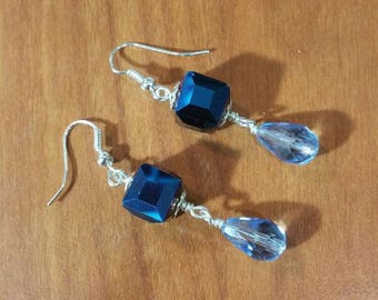 Blue crystal drop earrings.