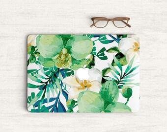 Green Floral Watercolor Sticker Skin Vinyl Decal for MacBook Laptop K0562
