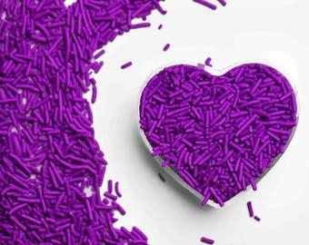 Purple Crunchy Jimmies™, crunchy sprinkles, skinny sprinkles, sugar strands, Fancy Sprinkles, purple sprinkles, girl sprinkles