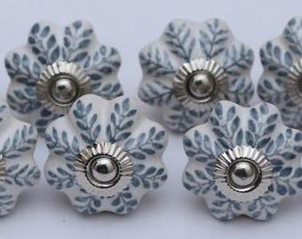 grey color leaf design ceramic knobs handpainted kitchen cabinet drawer pulls handmade ceramic door knobs furniture