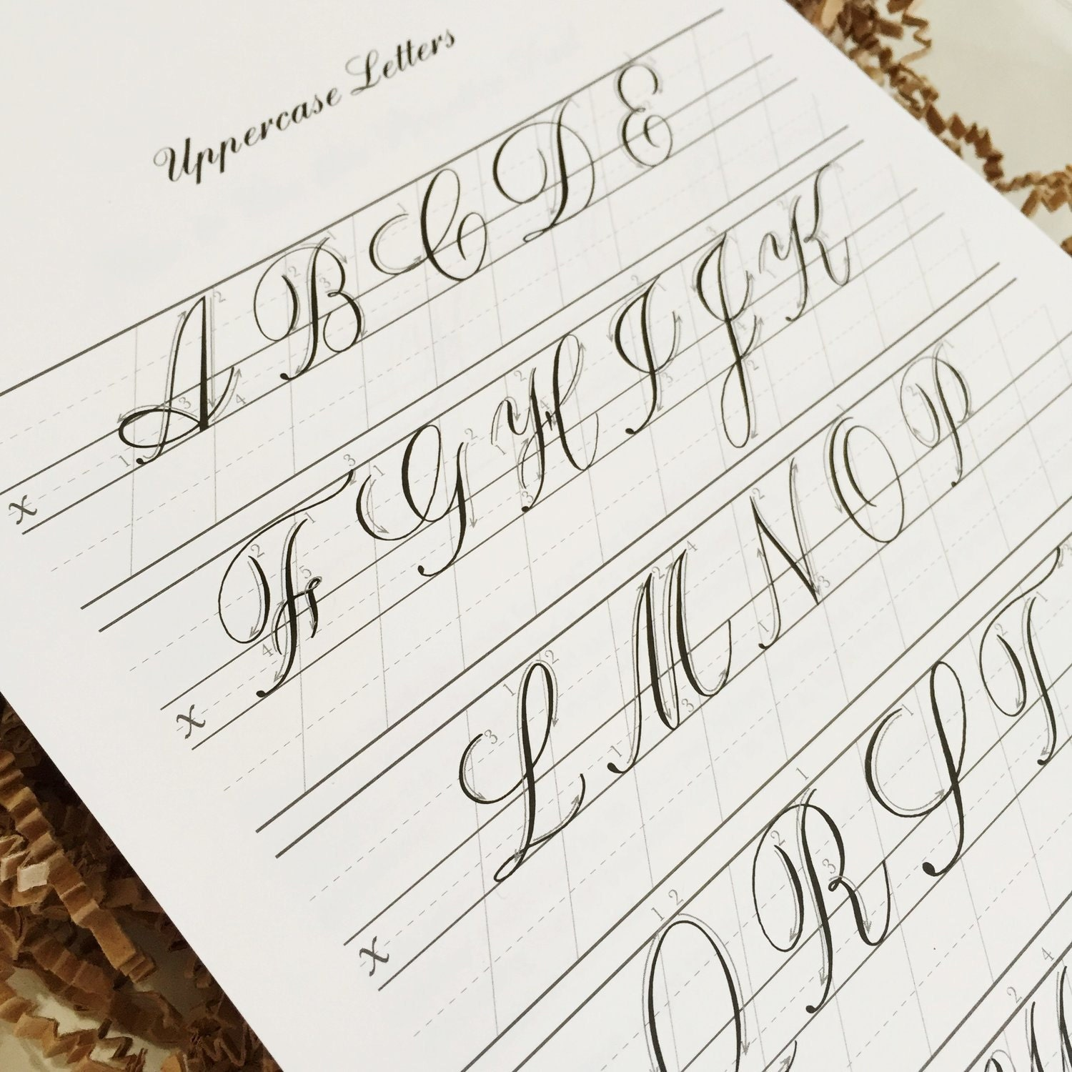 Copperplate practice pad uppercase letters from