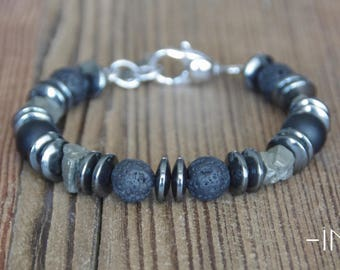 Man bracelet in lava stone, onyx, pyrite and hematite 10mm INZ - I - model ORLANDO