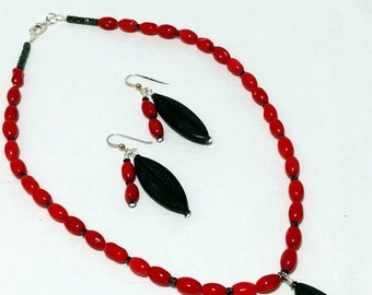 Red Coral and Lava Rock Leaf Bead Necklace