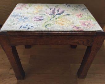 Vintage needlepoint tapestry footstool oak frame