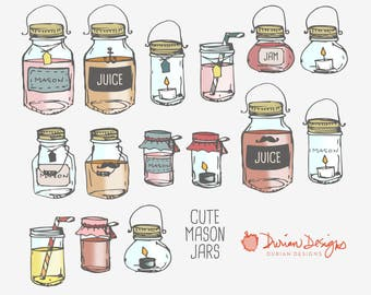 Mason jars clipart commercial use, glass jar juice containers food jam preserves clip art drawing doodles hipster instant candle download