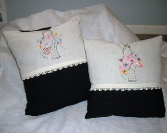 Handmade Pillows With Vintage Hand Embroidery Trim