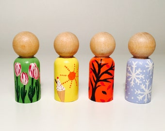 Four Seasons Peg Dolls - Wooden Peg Dolls - Spring - Summer - Autumn - Winter - Different Seasons - Educational Toys - Waldorf Inspired