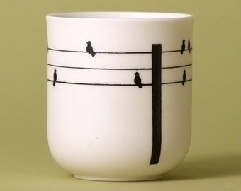 Birds On The Wire Porcelain Candle Holder