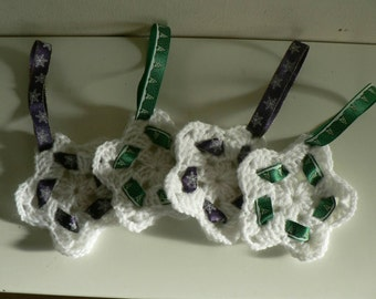 Crochet Star Christmas Tree Decoration, ribbon, festive