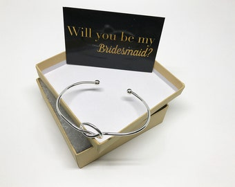 Bridesmaid Proposal Gift, Love Knot Bracelet, Tie the Knot Bracelet, Love Knot Bangle, Bridesmaid Gift, Cuff Bracelet, Wedding Gifts