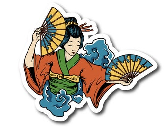 Japanese Geisha Vinyle Geisha Sticker BS004 | Vinyl Stickers | s | Clear Stickers Sticker BS004