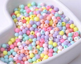 4mm 1000pcs mixed Candy color Acrylic Round Seed Beads Fit Jewelry Making DIY