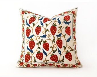 Embroidered pillow suzani cushion cover decorative suzani embroidered decorative pillow handmade suzani tapestry suzani floral navy18''X18''