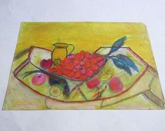 vintage original pastel painting still life