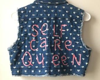 Self Care Queen Cropped Denim Vest, Cropped Jean Vest, Denim Vest with Hearts, Jean Vest Hand Painted