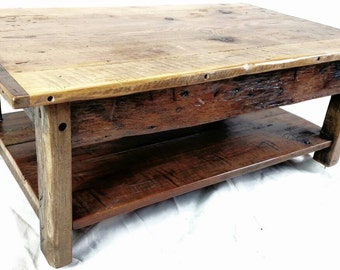 "44""x26""x16"" Handmade coffee table hand hewn reclaimed hardwood base with reclaimed hemlock top"