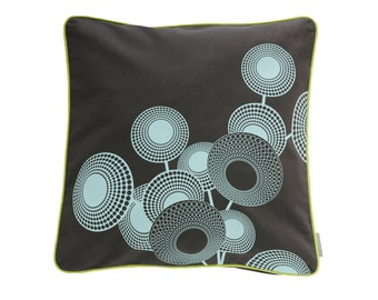 Pillowcase HOPE, dark grey / mint, 50 x 50 cm (without filling)