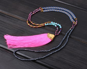 4mm crystgal beads New stylish design Pink tassel metal sweater beaded necklace
