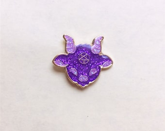 Kawaii Satan Enamel Pin, Cute Purple Glitter Lucifer Lapel Pin