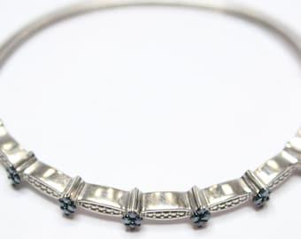 0.75ctw Blue Diamond Bangle Bracelet 925 Sterling Silver