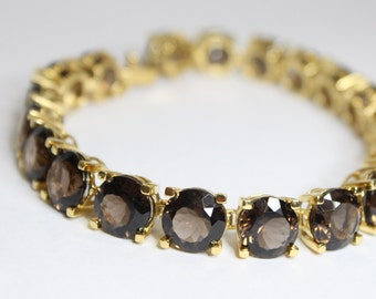 62.70ctw Smokey Quartz Bracelet 18k over Sterling Silver