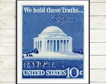 Thomas Jefferson, Jefferson Memorial, President Jefferson, US presidents, US Capitol. US postage stamps, postage stamp art, stamp art prints