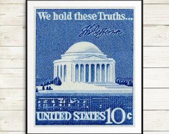 Thomas Jefferson, Jefferson Memorial, President Jefferson, US presidents, US Capitol. US postage stamps, postage stamp art, stamp art prints