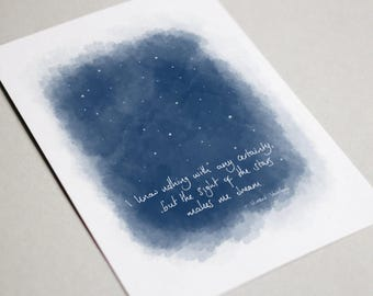 The Sight Of The Stars Makes Me Dream. Vincent Van Gogh quote greeting card. Birthday, new baby, anniversary, artist.