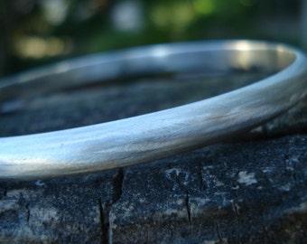 Personalised engraved bangle, brushed sterling silver, name bangle, hidden message bangle, large heavy thick bangle, bracelet engraving