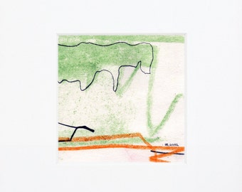 Green pastel sketch  on paper, abstract landscape rocky cliffs sketch, beach inspired art, mixed media drawing, signed original art